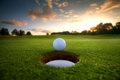 Golf Ball near hole Stock Images
