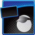 Golf ball player on blue and black halftone banner Stock Image