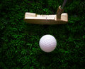 Golf ball and putter on green grass Stock Photo
