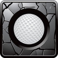 Golf ball silver cracked web button Royalty Free Stock Image