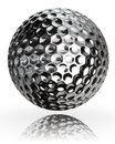 Golf ball silver metal on white background clipping path included Stock Image