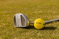 A golf ball and a stick Royalty Free Stock Photo