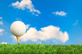 Golf ball on tee with blue sky background Royalty Free Stock Images