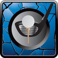 Golf ball on tee with club on blue cracked icon Royalty Free Stock Photo