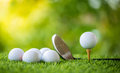 Golf ball on tee Royalty Free Stock Photo
