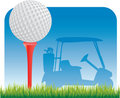 Golf ball on tee with golf cart silhouette Royalty Free Stock Photo