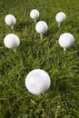 Golf ball on tee in grass Stock Images