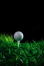 Golf ball and tee in green grass Royalty Free Stock Images