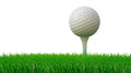 Golf ball on tee and green grass as ground Royalty Free Stock Photos