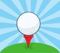 Golf ball with tee ready cartoon character Royalty Free Stock Photo