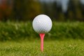 Golf ball on tee shallow dof Royalty Free Stock Photo
