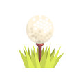 Golf ball on a tee tee in green grass, golf sport equipment cartoon vector Illustration Royalty Free Stock Photo