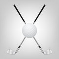 Golf ball and two crossed golf clubs d realistic vector eps illustration Royalty Free Stock Photo
