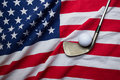 Golf ball with USA flag Royalty Free Stock Photo
