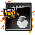 Golf ball with visor on black halftone banner Royalty Free Stock Images
