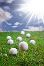 Golf balls on grass Royalty Free Stock Photo