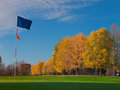 Golf blue flag on green Royalty Free Stock Photo