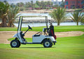 Golf buggy on a fairway Stock Photos