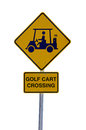 Golf cart crossing sign isolated on white a black and yellow with a symbol a background Stock Photos