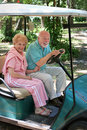 Golf Cart - Seniors Stock Photo
