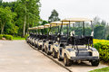 Golf carts on a golf course Royalty Free Stock Images