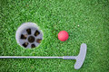 Golf club and ball in grass beauty world high resolution Royalty Free Stock Image