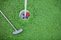 Golf club and ball in grass beauty world high resolution Stock Images