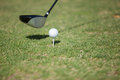 Golf club and ball before tee off closeup of a a Royalty Free Stock Photos