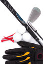 Golf club and glove with ball and tees on white background Royalty Free Stock Image