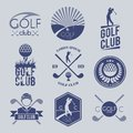 Golf club label sport game competition black and white set isolated vector illustration Stock Photography