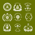 Golf club logos set of templates. Vector logotype design. White G