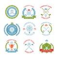 Golf club logos set of templates.Vector logotype design. White G