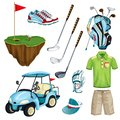 Golf club vector cartoon icons and design elements set. Golf cart, ball, club, bag and clothes illustration. Royalty Free Stock Photo