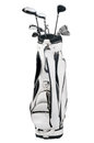 Golf clubs in white and black bag isolated on white background Royalty Free Stock Images