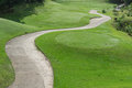 Golf course with buggy lane is area of land designed for play Royalty Free Stock Photo