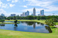 Golf Course Green with City Background Royalty Free Stock Photo
