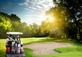Golf course irish idyllic in summer time Royalty Free Stock Images