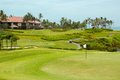 Golf course in luxury resort green field and blue sky on the background of the sea beautiful palm tree over with white clouds Stock Photos