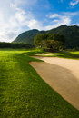 Golf course near to the mountain Stock Photography