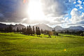 Golf course in Oahu, Hawaii Stock Photo