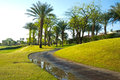 Golf course path at pga west la quinta california Stock Images