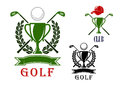 Golf emblem and badges design templates club or tournament with trophy cups crossed clubs balls laurel wreath blank ribbon Royalty Free Stock Photos