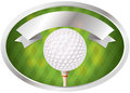 Golf emblem an illustration of a ball on tee room for copy space vector eps file available eps file contains transparencies Royalty Free Stock Image