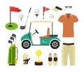 Golf Equipment Set. Vector