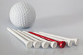 Golf equipments on the table different glass Royalty Free Stock Photos