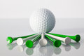 Golf equipments on the table different glass Royalty Free Stock Images