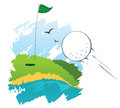 Golf field green with a hole marked with a flag Stock Photos