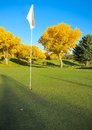 Golf field with white flag in the hole Stock Photo