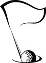 Golf flag with ball in hole black and white vector illustration of a going a a Stock Photo