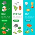 Golf Game Equipment Banner Vecrtical Set Isometric View. Vector Royalty Free Stock Photo